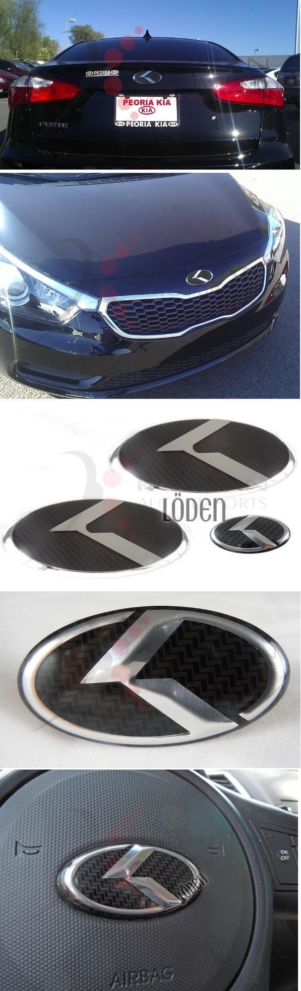 2012 soul carbon stainless 3pc set k emblem badge grill trunk