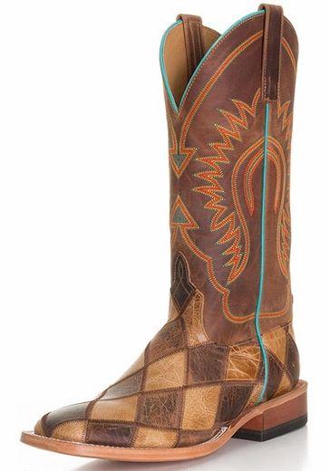 Anderson Bean Crazy Train Patchwork Cowboy Boots - Honey / Brown