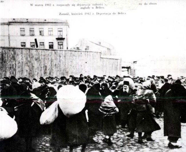 Deportation of Jews from Zamosc, Poland to the Belzec death camp  In 1931, the Jewish population in Zamosc was 10,265. Polish mobs attacked Jews prior to the German occupation of the city on October 7, 1939. In April 1941, the Jews were confined to a ghetto. Deportations began on April 11, 1942 when about 3,000 Jews were sent to the Belzec death camp. Deportations continued until the final liquidation of the ghetto on October 16, 1942.
