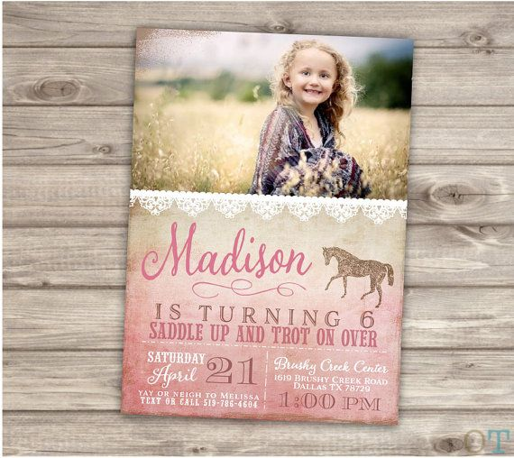 Photo Rustic Lace Horse Birthday Printable Invitations Shabby Chic Country Cowgirl Theme Party girl Rustic Modern Download pdf jpeg