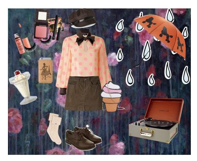 """Retro Outfit for a Rainy Day"" by psycho-tsundere-fox ❤ liked on Polyvore featuring Supersweet, Mountain Khakis, Monsoon, UGG, Rigby & Mac, Charlotte Russe, Betmar, Retrò, TheBalm and e.l.f."