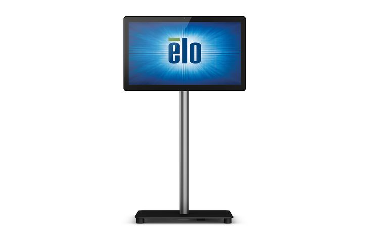 Elo 22-inch I-Series touchscreen display mounted on a floor stand. Perfect for high traffic public use in self-service, endless aisle, point of information, and more. Visit EloTouch.com to learn more.
