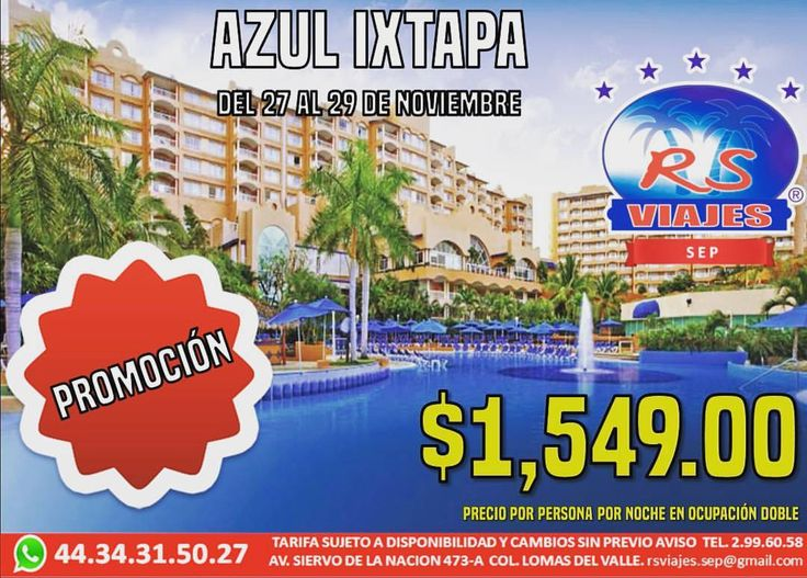 Viaja con nosotros!!! Azul ixtapa te esta esperando :) (en Rs Viajes Franquicia Sep)