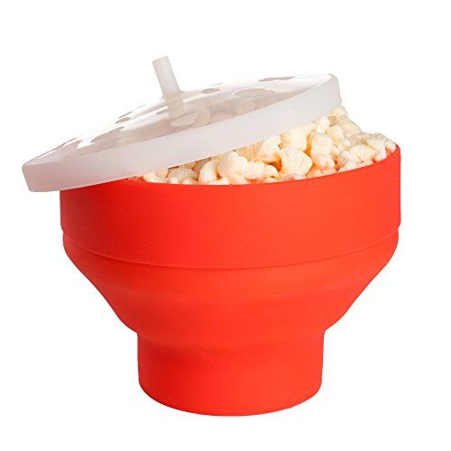 EverKing Microwave Popcorn Popper BPAFree Pop The Corn With No Oil Dishwasher Safe Collapsible Red Silicone Bowl A Healthy Snack Maker *** Learn more by visiting the image link. (This is an affiliate link)
