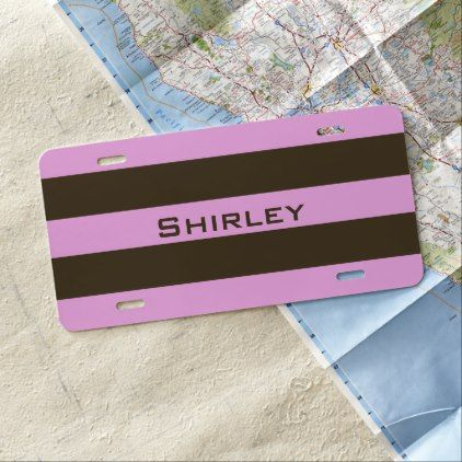 Pink and Chocolate Brown Wide Stripes by STaylor License Plate - modern style idea design custom idea