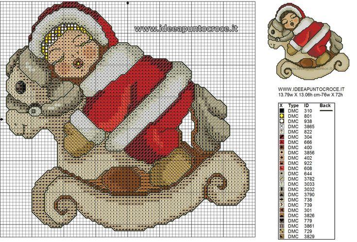 BIMBA THUN SCHEMA PUNTO CROCE Natale baby Cavallino animali