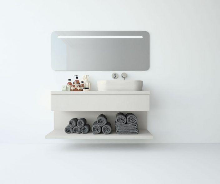 Muebles de baño a medida. Ejemplo de acabados en madera natural, laminados, lacas brillo o mate, etc.  unibaño-compactos-acabados-1