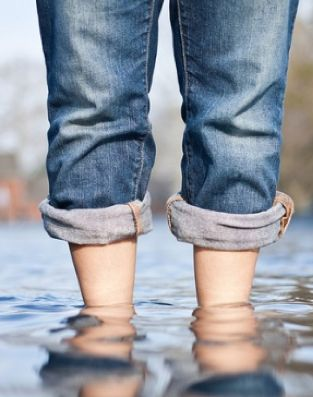 blue jeans, barefoot and a puddle...can't get much better than that!