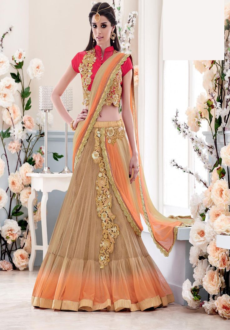 Beige Net Wedding Lehenga Saree 67153