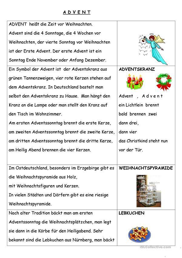 Advent Deutsch Lernen Deutsch Lesen Lernen