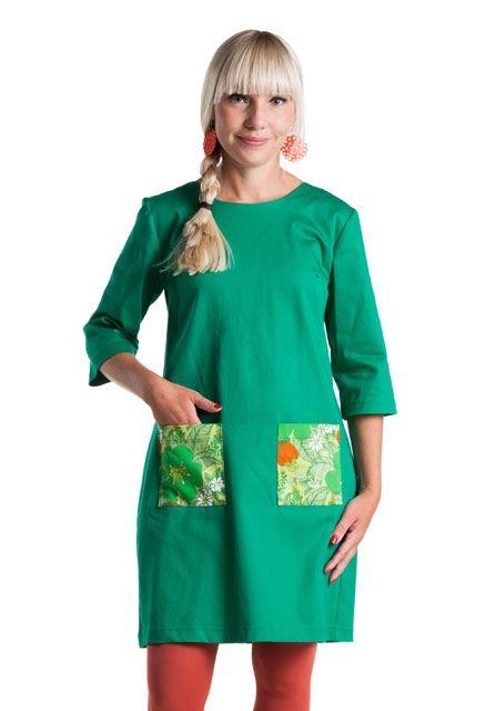 """Cissi och Selma klänning """"Olivia"""" grön med retro"""