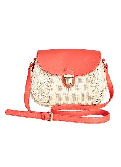 Emmy Red Rattan Basket Bag