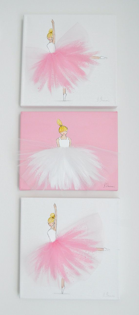 Nursery Decor, Nursery Ballerina Art, Hand Painted Canvas, Baby Shower (PINK…