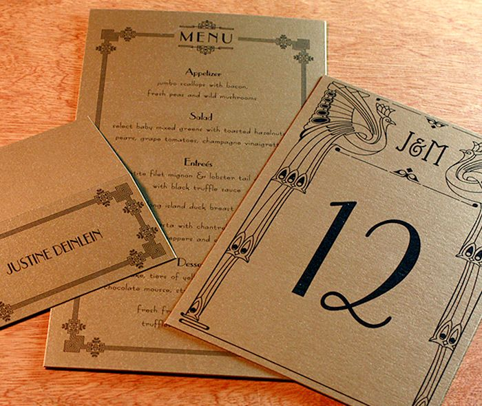 Custom monogram table number, place card and menu for a 1920's wedding.  Black on gold paper.    Invitations by Ajalon   invitationsbyajalon.com