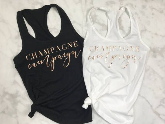 Rose Gold Champagne Campaign Tank Top by EllaJayDesign on Etsy