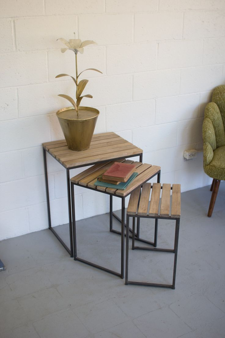 Metal Nesting Tables With Slatted Wood Tops, Set Of 3 | Tops, Products And  Of