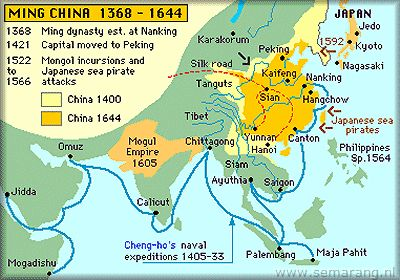 Zheng He's naval voyages until his death 1433.