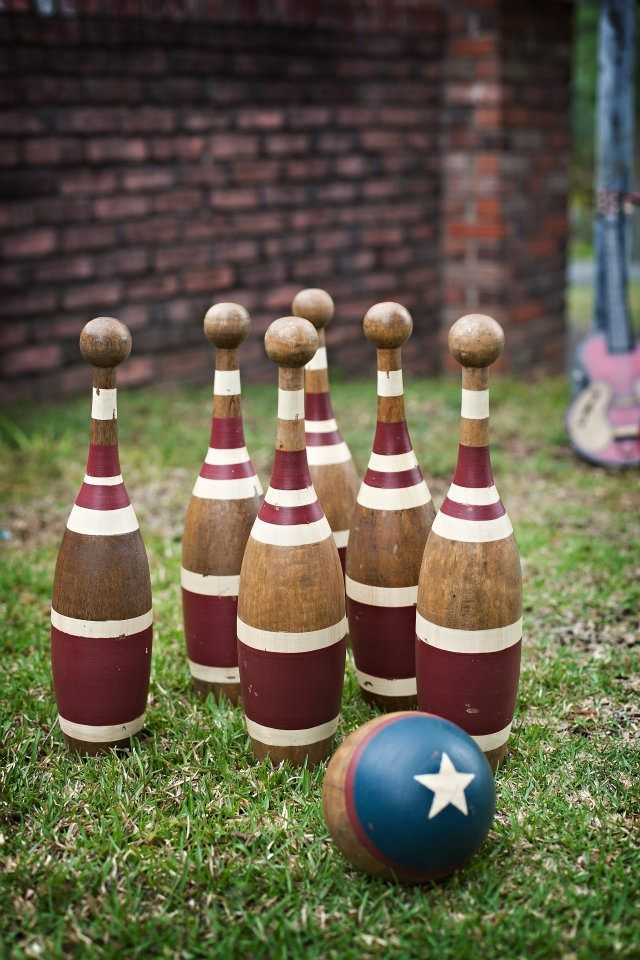 Lawn Games at outdoor reception  Bowling, horse shoes, croquet, ladder ball, bag toss, jumbo jenga, twister, bocce ball...