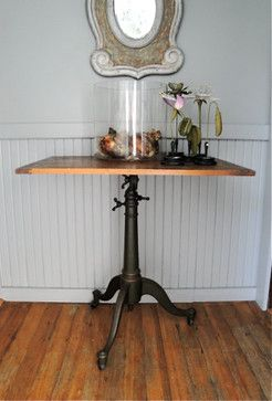 Vintage Cast Iron Tilt-Top Industrial Drafting Table by Plain and Elegant traditional-side