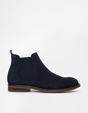 Jack Wills Navy Suede Chelsea boots