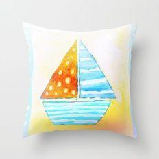 Happy boat Throw Pillow