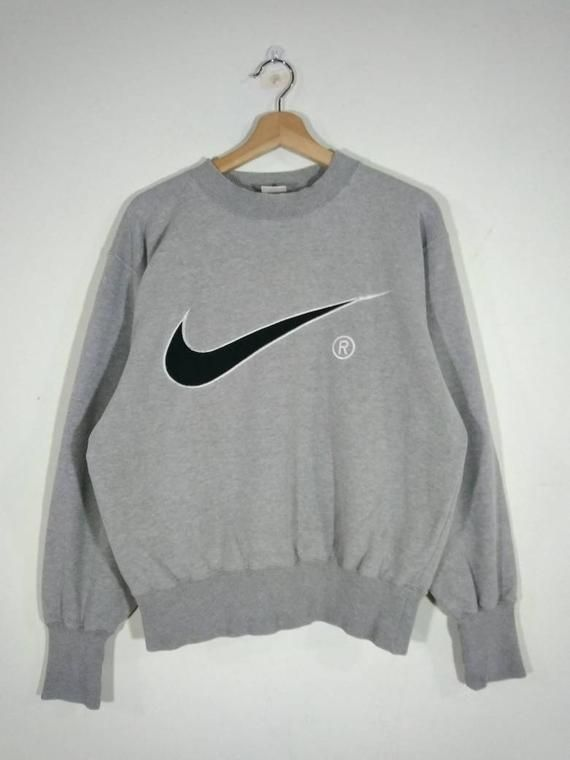 90's Nike Swoosh Embroidered Big Logo Pullover Crewneck Gray
