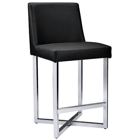 "Howard 25 1/2"" Black Faux Leather Counter Stool"