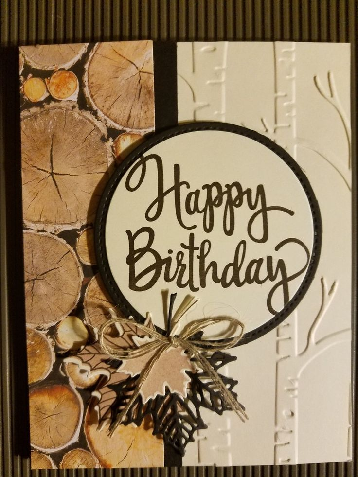 wood slice and tree birthday card