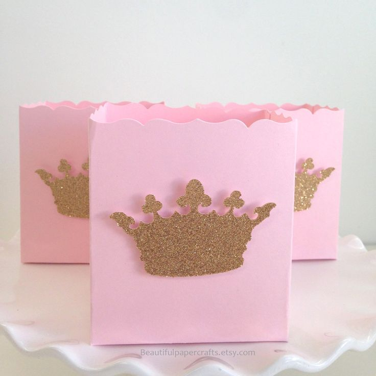 pink and gold baby shower favor box gold glitter bow pink favor