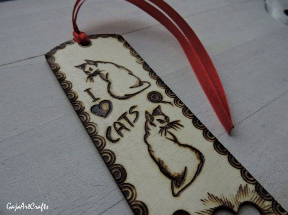 Love cats wooden bookmark For cats lovers wooden bookmark