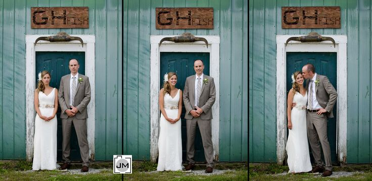 Port Dover Marina - Wedding Photos - Love this tryptic of the bride and groom going from serious vintage look, to laughing, to a full on kiss on the cheek.