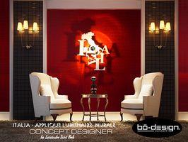 luminaire design au concept innovant avec ombre portée au mur - modele Italia typographie by bo-design concept
