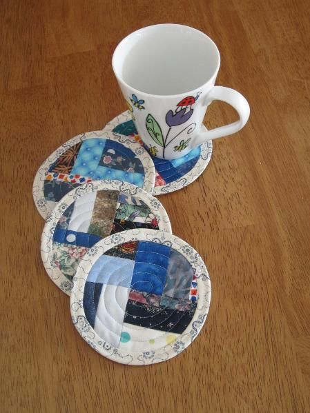 Scrap busting coasters from Craftsy