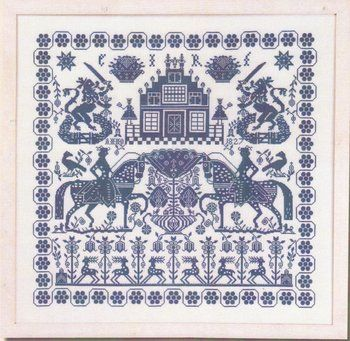 Blue Sampler - Cross Stitch Pattern http://www.123stitch.com/item/Permin-Blue-Sampler-Cross-Stitch-Pattern/154400