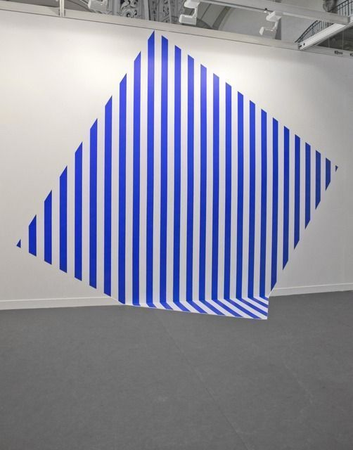 De travers et trop grand - bleu, 2013, by Daniel Buren | Prominent in Paris in the 1960s, Daniel Buren is internationally recognized for his contribution to Conceptual Art as a founding member of the BMPT group (comprised of Buren, Olivier Mosset, Michel Parmentier, and Niele Toroni), in which he abandoned the idea of painting as object and dismissed the importance of authorship. #pattern #stripes