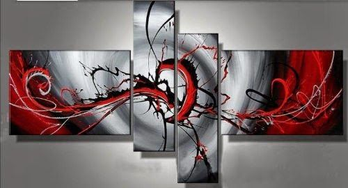 Santin Art - Hand-painted Passion Color High Q. Home Decoration Modern Abstract Best-selling Oil Painting on Canvas 4pcs/set Framed on the Back - Store Online for Your Live and Style
