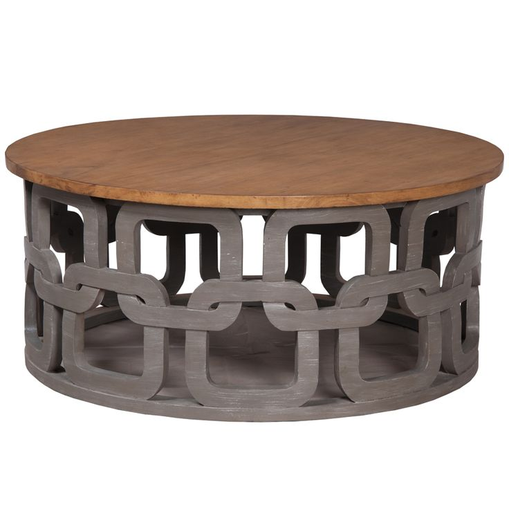 Luxury Gray Wash Round Coffee Table carved pattern