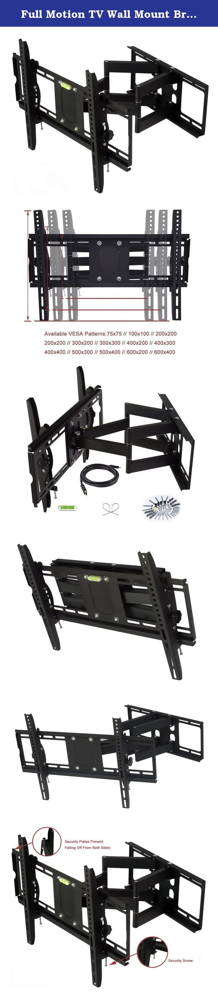 "Full Motion TV Wall Mount Bracket for 32"" - 65"" Plasma, LCD and LED Flat Screen Televisions, 176 Lbs. Before bidding the item, please check whether the TV Wall Mount is suitable for your TV. ★★★ Make sure the wall installed TV bracket is firmness and tightness, such as concrete wall, solid wood wall, do not install in hollow and floppy walls. ★★★ Please check the weight of your TV; it should be less than 176 lbs/80kg. ★★★ Look at the back of your TV, find the mounting hole and measure..."