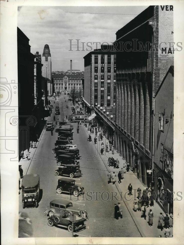 1939 Press Photo View of Helsinki's Center Street in Halsinki, Finland