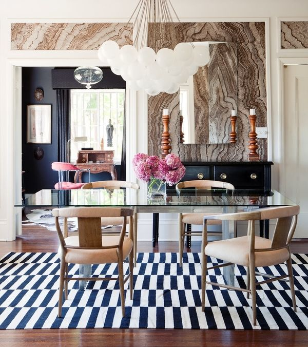 Wow marbled wall panels, big bubble chandelier, striped rug, love the chairs!: Dining Rooms, Lights Fixtures, Pattern, Chairs, Interiors Design, Wallpaper, Black White, Rugs, Glasses Tables