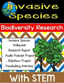 This is an invasive species and biodiversity research project with a research writing component, a podcast, and a STEM challenge! Students will learn about biodiversity, invasive species, and human impact on ecosystems.This NO PREP project includes a 3 vocabulary games (Memory, Picture Books, and Go Fish!), 10 vocabulary cards with definition, an Invasive Species Webquest (in a Google Doc format that can be shared with students via Google OR printed for students to record findings…
