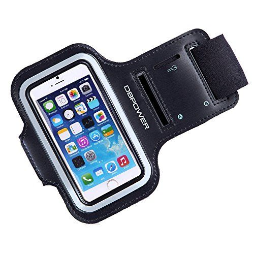 DBPOWER Adjustable Sports Armband for iPhone 5/5s/5c/4s/4 Sweatproof iPhone Armband with Headphone and Key Slot for Running, Jogging, Cycling, Workout, and Exercise