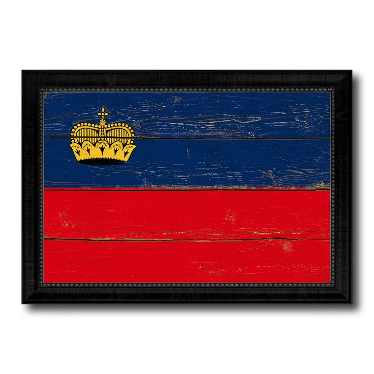 Liechtenstein Country Flag Vintage Canvas Print with Black Picture Frame Home Decor Gifts Wall Art Decoration Artwork