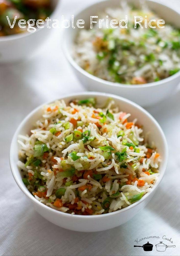 Recipe for Vegetable fried rice. Easy Indian-Chinese restaurant style recipe. Made with basmati rice. With step by step pictures.