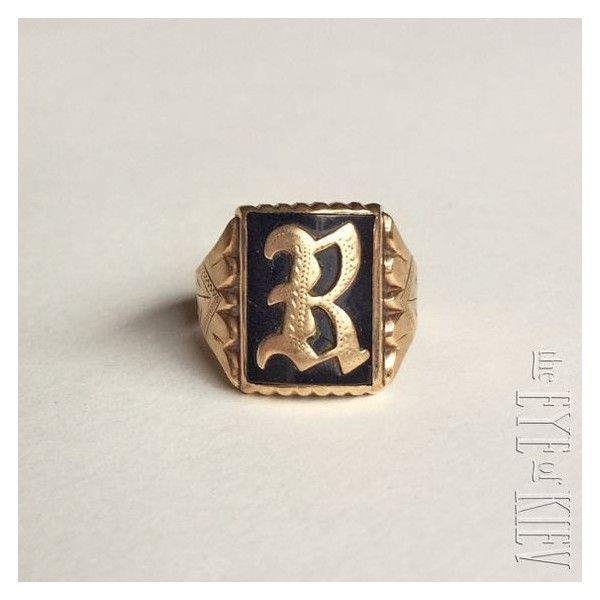 "Antique 14k Yellow GOLD Onyx Gothic Initial Letter ""B"" or ""R"" SIGNET... ❤ liked on Polyvore featuring men's fashion, men's jewelry, men's rings, mens pinky rings, mens initial rings, mens onyx rings, mens watches jewelry and mens gothic rings"