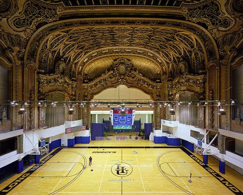 The Paramount Theater, New York re-purposed as a basketball court. In 2005, photographers Yves Marchand and Romain Meffre began documenting theaters that had either fallen into decay or been transformed entirely. The results of the ongoing project can be viewed on their website - http://www.marchandmeffre.com/theaters/index.html