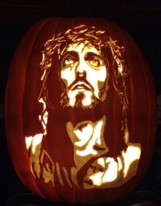 Jesus pattern by Stoneykins. Carved on a foam pumpkin by WynterSolstice
