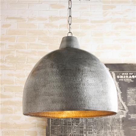 Over kitchen table: Hammered Steel Oversized Dome Pendant via shades of light