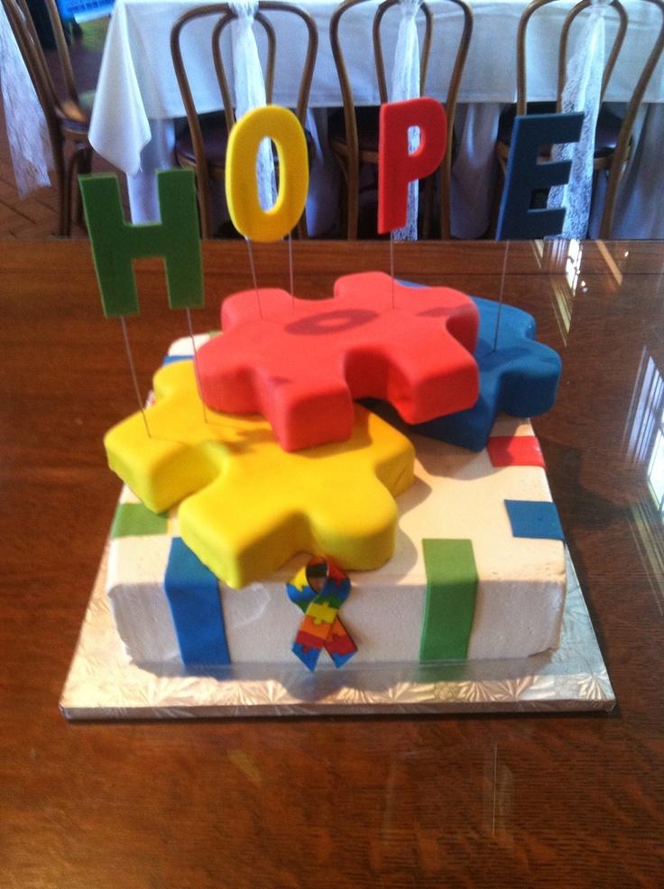 Autism Grooms Cake Fondant Covered Puzzle Piece Cakes