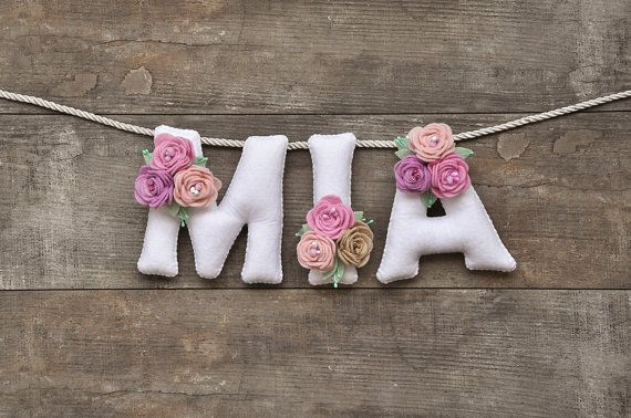 Felt name banner Pastel flowers nursery decor by DreamCreates